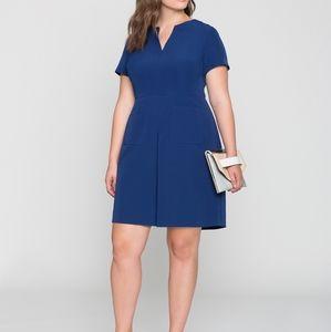Eloquii Size 28 Royal Blue Pleat Front Dress